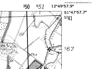Reduced fragment of topographic map de--mb--025k--42_042-ams--(1952)--N051-48_E012-40--N051-42_E012-50