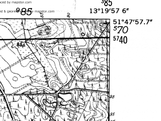 Reduced fragment of topographic map de--mb--025k--42_045-ams--(1952)--N051-48_E013-10--N051-42_E013-20