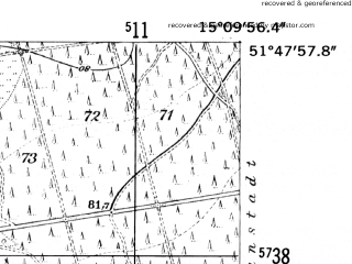 Reduced fragment of topographic map de--mb--025k--42_056-ams--(1952)--N051-48_E015-00--N051-42_E015-10
