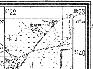 Reduced fragment of topographic map de--mb--025k--42_075--(1940)--N051-48_E018-10--N051-42_E018-20