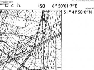 Reduced fragment of topographic map de--mb--025k--43_006-ams--(1955)--N051-42_E006-40--N051-36_E006-50