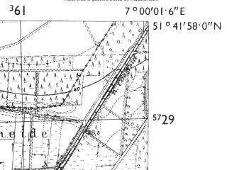 Reduced fragment of topographic map de--mb--025k--43_007-ams--(1955)--N051-42_E006-50--N051-36_E007-00; towns and cities Dorsten