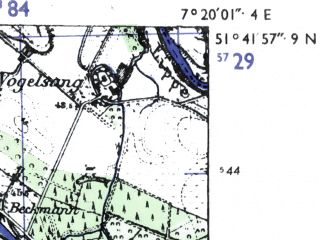 Reduced fragment of topographic map de--mb--025k--43_009-ams--(1955)--N051-42_E007-10--N051-36_E007-20