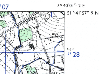 Reduced fragment of topographic map de--mb--025k--43_011-ams--(1955)--N051-42_E007-30--N051-36_E007-40; towns and cities Lunen