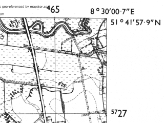 Reduced fragment of topographic map de--mb--025k--43_016-ams--(1955)--N051-42_E008-20--N051-36_E008-30; towns and cities Lippstadt