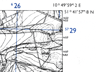 Reduced fragment of topographic map de--mb--025k--43_030-ams--(1955)--N051-42_E010-40--N051-36_E010-50