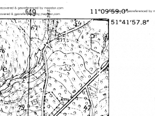 Reduced fragment of topographic map de--mb--025k--43_032-ams--(1952)--N051-42_E011-00--N051-36_E011-10