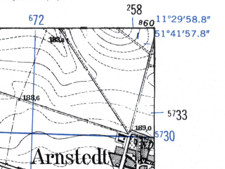 Reduced fragment of topographic map de--mb--025k--43_034-ams--(1952)--N051-42_E011-20--N051-36_E011-30