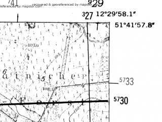 Reduced fragment of topographic map de--mb--025k--43_040-ams--(1952)--N051-42_E012-20--N051-36_E012-30 in area of Muldestausee; towns and cities Bitterfeld
