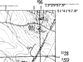 Reduced fragment of topographic map de--mb--025k--43_046-ams--(1952)--N051-42_E013-20--N051-36_E013-30