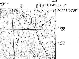 Reduced fragment of topographic map de--mb--025k--43_048-ams--(1952)--N051-42_E013-40--N051-36_E013-50; towns and cities Finsterwalde