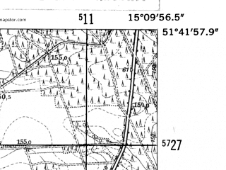Reduced fragment of topographic map de--mb--025k--43_056-ams--(1952)--N051-42_E015-00--N051-36_E015-10; towns and cities Zary