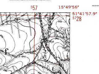 Reduced fragment of topographic map de--mb--025k--43_060-ams--(1952)--N051-42_E015-40--N051-36_E015-50