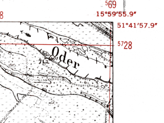 Reduced fragment of topographic map de--mb--025k--43_061-ams--(1952)--N051-42_E015-50--N051-36_E016-00