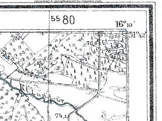 Reduced fragment of topographic map de--mb--025k--43_062--(1937)--N051-42_E016-00--N051-36_E016-10; towns and cities Glogow