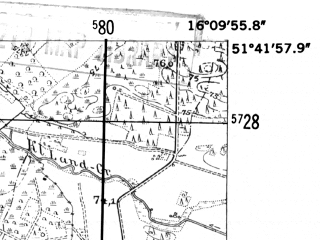 Reduced fragment of topographic map de--mb--025k--43_062-ams--(1952)--N051-42_E016-00--N051-36_E016-10; towns and cities Glogow
