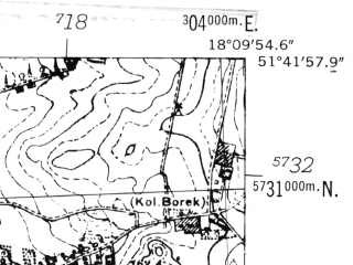 Reduced fragment of topographic map de--mb--025k--43_074-ams--(1952)--N051-42_E018-00--N051-36_E018-10