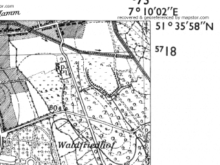 Reduced fragment of topographic map de--mb--025k--44_008-ams--(1955)--N051-36_E007-00--N051-30_E007-10; towns and cities Gelsenkirchen
