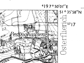 Reduced fragment of topographic map de--mb--025k--44_012-ams--(1955)--N051-36_E007-40--N051-30_E007-50; towns and cities Unna