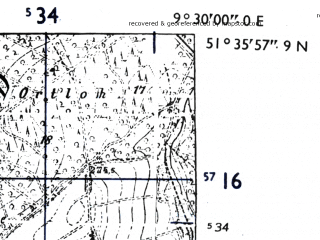 Reduced fragment of topographic map de--mb--025k--44_022-ams--(1955)--N051-36_E009-20--N051-30_E009-30