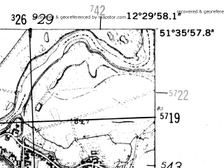 Reduced fragment of topographic map de--mb--025k--44_040-ams--(1952)--N051-36_E012-20--N051-30_E012-30