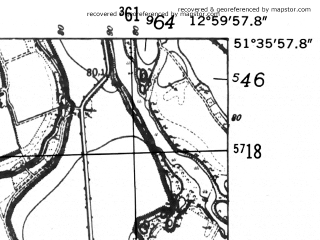 Reduced fragment of topographic map de--mb--025k--44_043-ams--(1952)--N051-36_E012-50--N051-30_E013-00