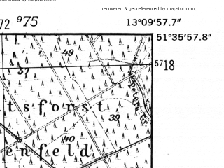 Reduced fragment of topographic map de--mb--025k--44_044-ams--(1952)--N051-36_E013-00--N051-30_E013-10; towns and cities Torgau