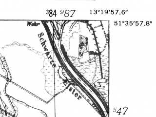 Reduced fragment of topographic map de--mb--025k--44_045-ams--(1952)--N051-36_E013-10--N051-30_E013-20