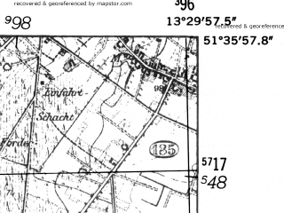 Reduced fragment of topographic map de--mb--025k--44_046-ams--(1952)--N051-36_E013-20--N051-30_E013-30; towns and cities Bad Liebenwerda
