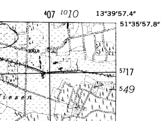 Reduced fragment of topographic map de--mb--025k--44_047-ams--(1952)--N051-36_E013-30--N051-30_E013-40