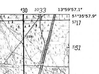Reduced fragment of topographic map de--mb--025k--44_049-ams--(1952)--N051-36_E013-50--N051-30_E014-00; towns and cities Senftenberg