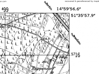 Reduced fragment of topographic map de--mb--025k--44_055-ams--(1952)--N051-36_E014-50--N051-30_E015-00