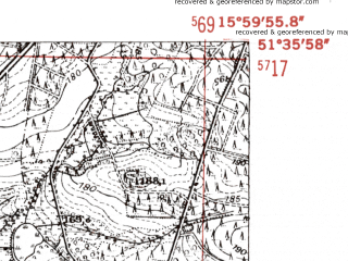 Reduced fragment of topographic map de--mb--025k--44_061-ams--(1952)--N051-36_E015-50--N051-30_E016-00