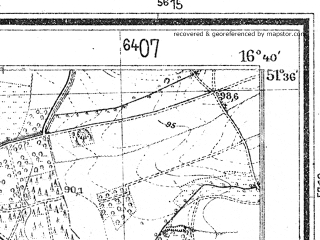 Reduced fragment of topographic map de--mb--025k--44_065--(1944)--N051-36_E016-30--N051-30_E016-40