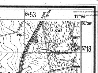 Reduced fragment of topographic map de--mb--025k--44_069--(1940)--N051-36_E017-10--N051-30_E017-20; towns and cities Milicz