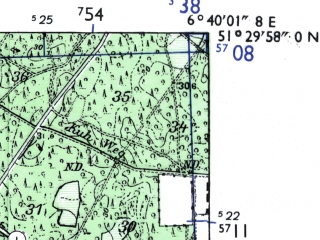 Reduced fragment of topographic map de--mb--025k--45_005-ams--(1955)--N051-30_E006-30--N051-24_E006-40