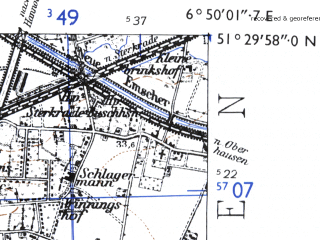Reduced fragment of topographic map de--mb--025k--45_006-ams--(1955)--N051-30_E006-40--N051-24_E006-50; towns and cities Duisburg