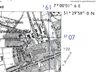 Reduced fragment of topographic map de--mb--025k--45_007-ams--(1955)--N051-30_E006-50--N051-24_E007-00; towns and cities Oberhausen, Bottrop, Mulheim An Der Ruhr