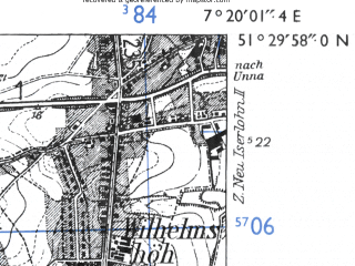 Reduced fragment of topographic map de--mb--025k--45_009-ams--(1955)--N051-30_E007-10--N051-24_E007-20 in area of Kemnader See; towns and cities Bochum