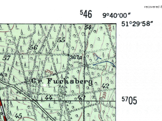 Reduced fragment of topographic map de--mb--025k--45_023-ams--(1954)--N051-30_E009-30--N051-24_E009-40; towns and cities Munden
