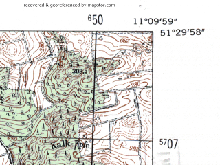 Reduced fragment of topographic map de--mb--025k--45_032-ams--(1954)--N051-30_E011-00--N051-24_E011-10
