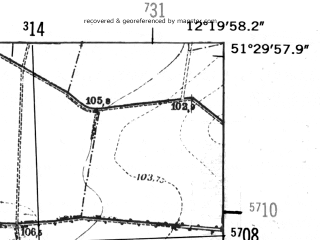 Reduced fragment of topographic map de--mb--025k--45_039-ams--(1952)--N051-30_E012-10--N051-24_E012-20