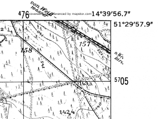 Reduced fragment of topographic map de--mb--025k--45_053-ams--(1952)--N051-30_E014-30--N051-24_E014-40