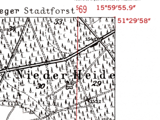 Reduced fragment of topographic map de--mb--025k--45_061-ams--(1952)--N051-30_E015-50--N051-24_E016-00; towns and cities Chocianow