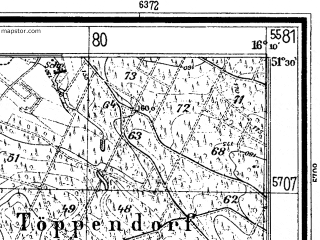 Reduced fragment of topographic map de--mb--025k--45_062--(1933)--N051-30_E016-00--N051-24_E016-10