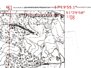 Reduced fragment of topographic map de--mb--025k--45_069-ams--(1952)--N051-30_E017-10--N051-24_E017-20