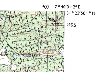 Reduced fragment of topographic map de--mb--025k--46_011-ams--(1955)--N051-24_E007-30--N051-18_E007-40; towns and cities Hohenlimburg