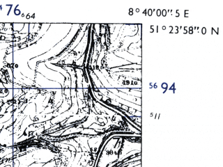 Reduced fragment of topographic map de--mb--025k--46_017-ams--(1955)--N051-24_E008-30--N051-18_E008-40; towns and cities Brilon
