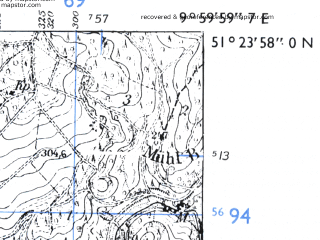 Reduced fragment of topographic map de--mb--025k--46_025-ams--(1955)--N051-24_E009-50--N051-18_E010-00