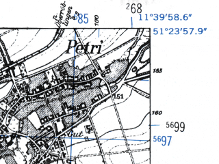 Reduced fragment of topographic map de--mb--025k--46_035-ams--(1952)--N051-24_E011-30--N051-18_E011-40; towns and cities Querfurt
